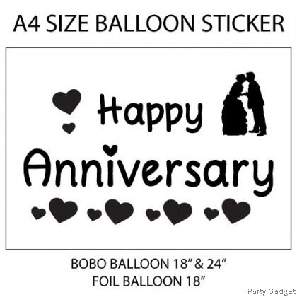 A4 Balloon Sticker   Happy Anniversary Design 2   Black Balloon Sticker