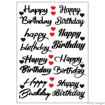 A4 Balloon Sticker   8 in 1 Happy Birthday Design 1   Black Balloon Sticker