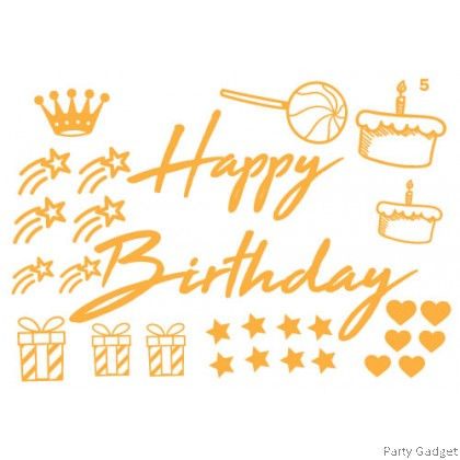 *A4* Balloon Sticker **18 inch 20 inch 24 inch Bobo** ~ Happy Birthday Design 5 ~ customized balloon gold sticker