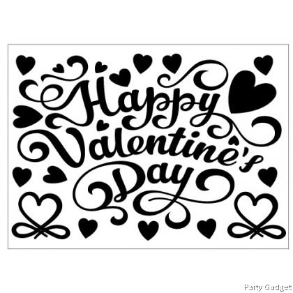 *A4* Balloon Sticker | Happy Valentine's Day Design 1 | Black Balloon Sticker
