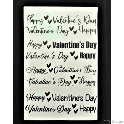 *A4* Balloon Sticker | Happy Valentine's Day 8 in 1 Design 1 | Black Balloon Sticker
