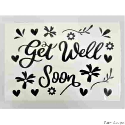 *A4* Balloon Sticker | Get Well Soon Design 1 | Black Balloon Sticker