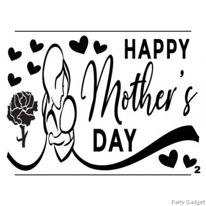 *A4* Balloon Sticker   Happy Mother's Day Design 2   Black Balloon Sticker