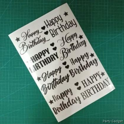 A4 Balloon Sticker | 8 in 1 Happy Birthday Design 2 | Black Balloon Sticker