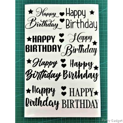 *A4* Balloon Sticker 10 inch 12 inch Bobo Latex Foil Balloon ~ 8 in 1 Happy Birthday Design 2 Black Sticker
