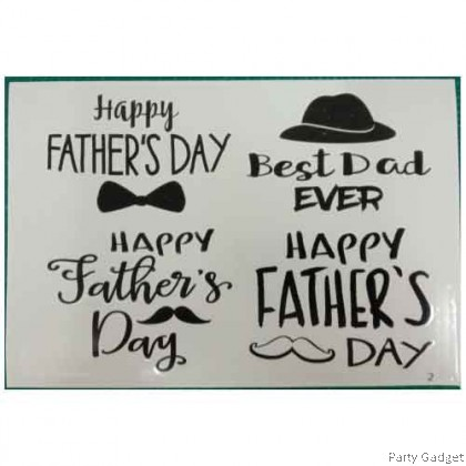 *A4* Balloon Sticker | Happy Father's Day 4 in 1 Design 2 | Black Balloon Sticker