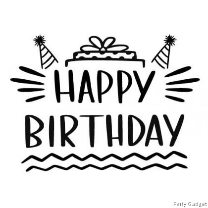 *A4* Balloon Sticker | Happy Birthday Design 12 | Black Balloon Sticker