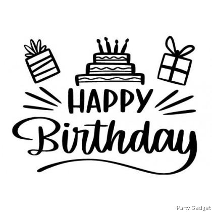 *A4* Balloon Sticker | Happy Birthday Design 13 | Black Balloon Sticker