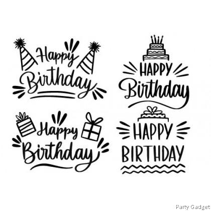*A4* Balloon Sticker | 4 in 1 Happy Birthday Design 3 | Black Sticker
