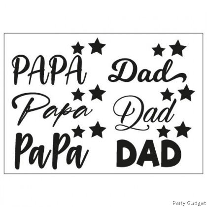 A4 Balloon Sticker   Papa Dad Design 1   Black Balloon Sticker