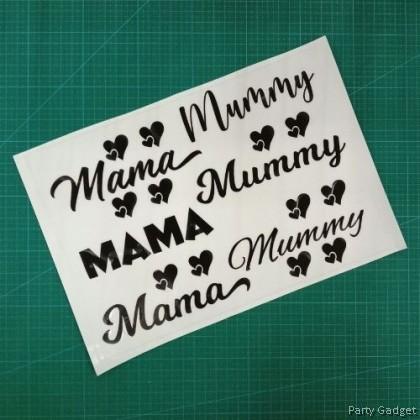 A4 Balloon Sticker | Mama Mummy Design 1 | Black Balloon Sticker
