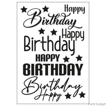 A4 Balloon Sticker | 4 in 1 Happy Birthday Design 5 | Black Balloon Sticker